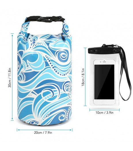 10L Waterproof Dry Bag with Phone Case Bag Roll Top Dry Sack For Kayaking Boating Fishing Surfing Swimming Rafting