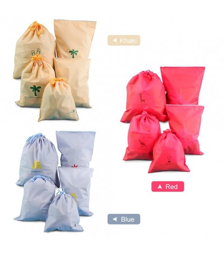 5PCS Drawstring Bag Waterproof Stuff Storage Pouch Toiletry Packing Bag Organizer Slider Pouch Home Camping Traveling Storage Bag