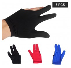 3 PCS Absorbent Billiard Gloves Three Fingers Spandex Cue Sport Glove Left Right Hand Billiard Cue Shooter Glove