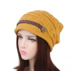Knitted Braided Beanie Hats Cabled Checker Pattern Hat