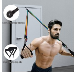 11pcs Resistance Bands Set Skipping Rope Workout Fintess Exercise Tube Bands Door Anchor Ankle Straps Cushioned Handles with Carry Bags for Home Gym Travel