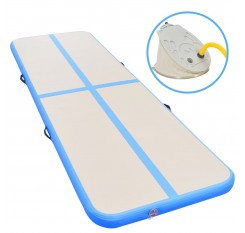 Inflatable exercise mat with pump 300 × 100 × 10 cm PVC blue