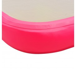Inflatable exercise mat with pump 300 × 100 × 10 cm PVC pink