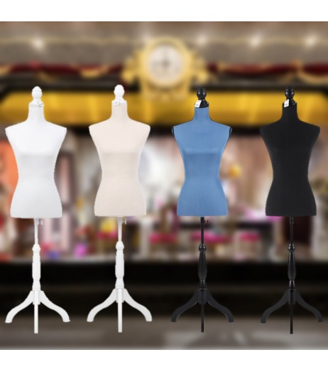 iKayaa Female Mannequin Torso Dress Form with Wood Tripod Stand Pinnable Size 34