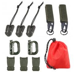 11 Attachment Kit for Tactical Molle Bag Backpack Vest Belt D-Rings Web Dominators Buckles Straps