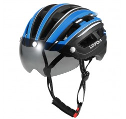 Lixada Mountain Bike Helmet Motorcycling Helmet with Back Light Detachable Magnetic Visor UV Protective for Men Women