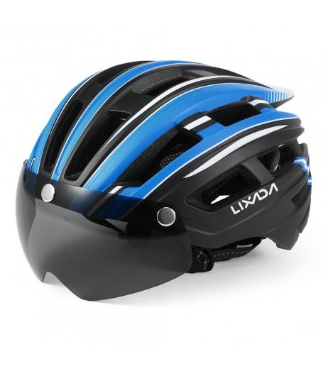 Lixada Mountain Bike Helmet Motorcycling Helmet with Back Light Detachable Magnetic Visor UV Protective for Men Women