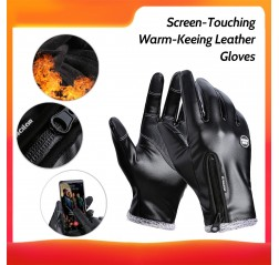 Kyncilor Winter Outdoor Sports Gloves Screen-Touching Leather Gloves Fashion Warm-Keeping Gloves Cold Weather Windproof Cycling Gloves